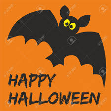 happy halloween party card with bat and hand drawn wishes royalty