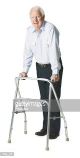 elder walker elderly caucasian with walker poses happily stock photo