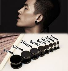 black stud earrings mens online shop 1pcs new fashion stainless steel black barbell
