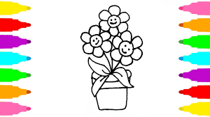 how to draw potted plants coloring pages for kids learn