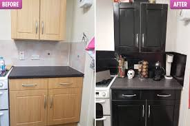 spray painting kitchen cabinets scotland spends 43 transforming kitchen using black