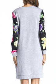 color block floral pattern panel dipped hem long sleeve short