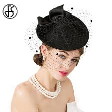 chapeau pour mariage fs brand vintage black wool pillbox hat with veil wedding
