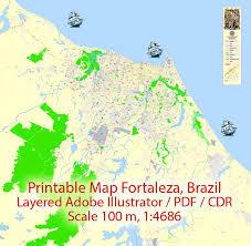 city map of brazil editable pdf map fortaleza brazil exact vector city plan map