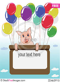 happy birthday card with funny pig and balloons free stock