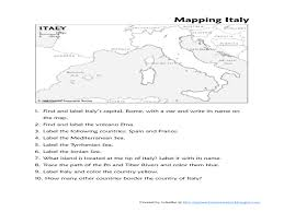 Map Of Italy And France by Map Of Italy 4th 6th Grade Worksheet Lesson Planet