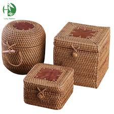 aliexpress com buy rattan storage box with lid square and round