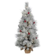 artificial christmas tree 3ft frosted mix berry pine artificial christmas tree slim in burlap