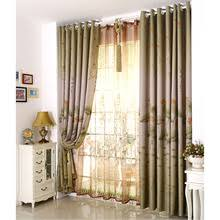 Green Living Room Curtains by Exquisite Embroidery Floral Linen Cotton Blend Living Room Curtains