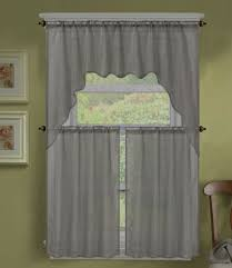 Silver Valance 3pc K66 Silver Voile Sheer Kitchen Window Curtain 2 Tiers And 1