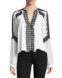 nanette lepore long sleeve silk lace trim blouse white black