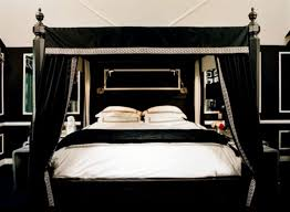 Black Four Poster Bed Frame The Black End Table And Black Bedroom Black Color Bedding Shee