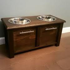 Custom dog bowl stand w storage Pets Pinterest