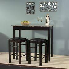 Espresso Bistro Table 3 Pub Set Kitchen Island Cart Breakfast Bistro Bar Dining
