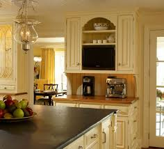 Kitchens With Yellow Cabinets Cabinets Buttercream Enamel With Glaze Beaded Inset With Raised
