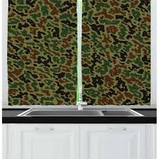 Green And Brown Curtains Camouflage Curtains 2 Panels Set Green Pattern Abstract