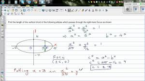 finding the height of the passing through the focus of an ellipse