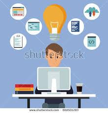 color background man desk tech computer stock vector 668501203