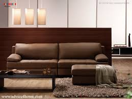 room with wooden partition wall and dark brown sofa design