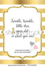 first birthday invitation one year stock vector 712600465