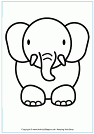 free printable cute baby elephant coloring pages kids