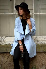 light blue trench coat manchester based fashion blogger baby blue trench coat