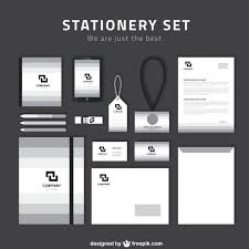 stationery set simple stationery set in grey and white colors vector free