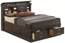 retro dark brown stained pine wood queen size bed with front