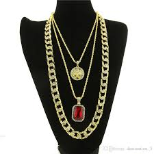 red chain link necklace images 2018 iced out gold plated miami cuban link red ruby chain combo 3 jpg