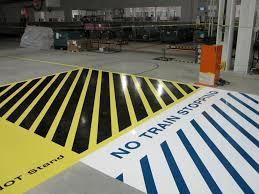 industrial automotive epoxy flooring line striping installation