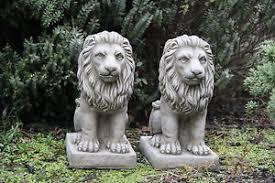 proud lions pair small garden ornaments lions garden statues