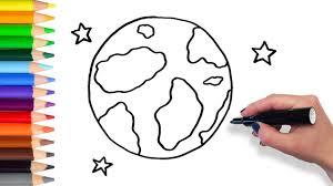 learn how to draw earth and stars teach drawing for kids and