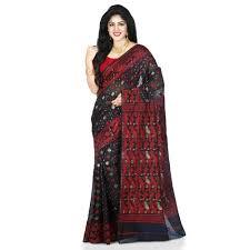 dhakai jamdani black soft silk dhakai jamdani saree rs 2500 bengali tant