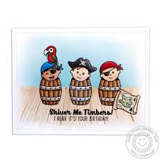 sunny studio stamps pirate pals 4x6 photo polymer clear stamp set