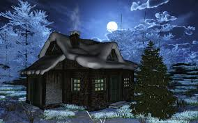 winter clouds moon christmas trees house scenery winter wallpaper