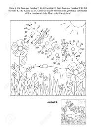 connect the dots picture puzzle and coloring page spring or