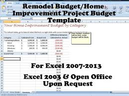 Home Budget Excel Template Home Budget Template Remodel Budget Improvement Project Budget