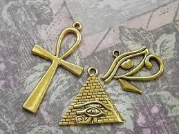 3 large charms pyramid eye of horus ankh pendants ancient