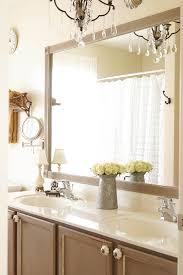 cheap bathroom mirror diy bathroom mirror frame update white lace cottage