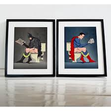 unique affordable wall art and wall decals ethical market batman and superman on the toilet comic book poster wall art prints