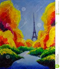 original oil painting of eiffel tower paris dream autumn green