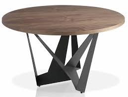 table ronde cuisine pied central table ronde moderne acier gris fonc et bois noyer arka dimensions