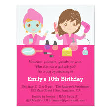 cute pink spa birthday party invitation zazzle com