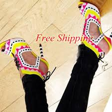 designer stiletto heels sheepskin suede leather patchwork peep toe stiletto heel