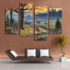 online shop 4 pcs beautiful landscape prints deer around the river