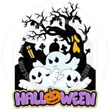 cartoon halloween sign with three ghosts by clairev toon vectors