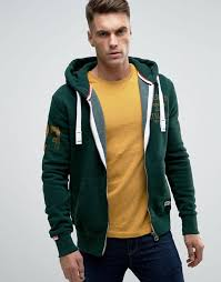 superdry zip thru hoodie with washed logo print enamel green men