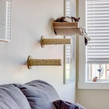 hammock wall mounted cat bed with 2 sisal steps