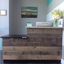 Industrial Style Reception Desk Front Desk Love The Simple Look The Mom Bun Pinterest Front