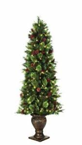 pre lit potted artificial tree 6 5 ft decorated pine